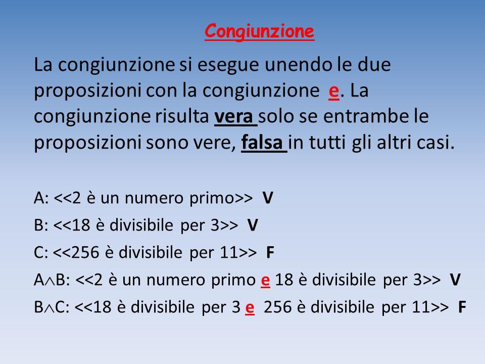 Congiunzione La congiunzione si esegue unendo le due proposizioni con la congiunzione e. La congiunzione risulta vera solo se entrambe le proposizioni