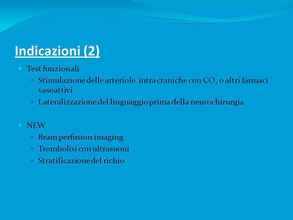 Indicazioni (2) Test funzionali Stimulazione delle arteriole intra craniche con CO 2 o altri farmaci vasoattivi Lateralizzazione del linguaggio prima