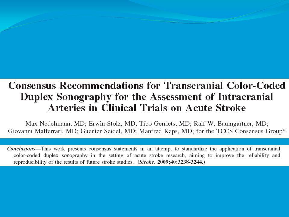 Summary of findings Intracranial Steno-Occlusive Disease (Continued ) INDICATIONSENSITIVITY (%) SPECIFICITY (%) REFERENCE STANDARD MCA85-9590-98 ICA, VA, BA55-8196 Recommendation: Data are insufficient to establish TCD criteria for greater than 50% stenosis or for progression of stenosis in intracranial arteries (Type U).