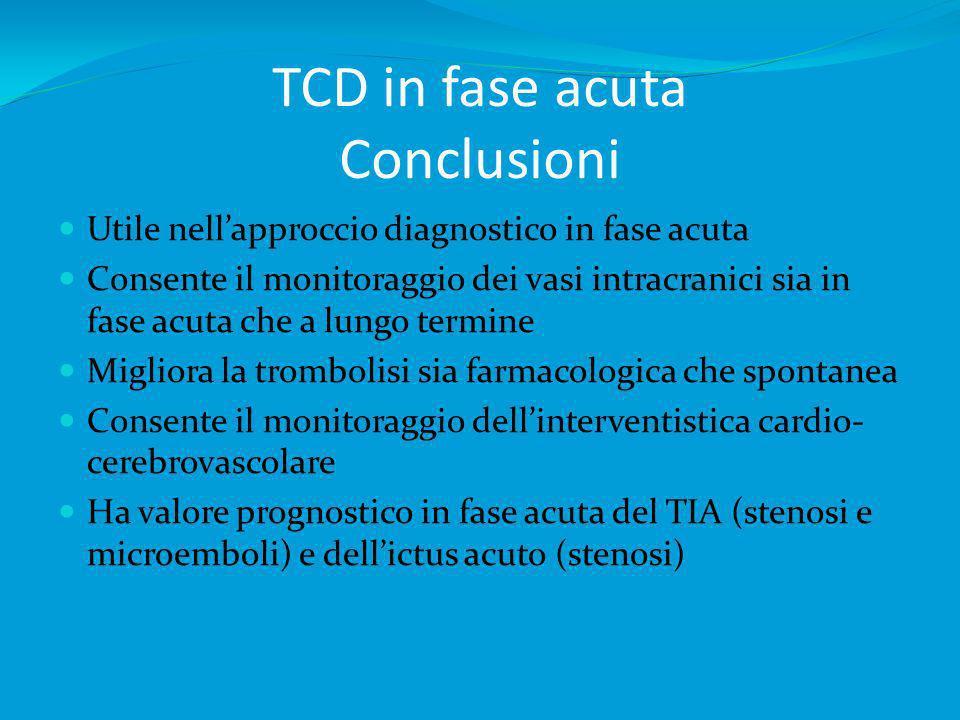 TCD in fase acuta Conclusioni Utile nellapproccio diagnostico in fase acuta Consente il monitoraggio dei vasi intracranici sia in fase acuta che a lun
