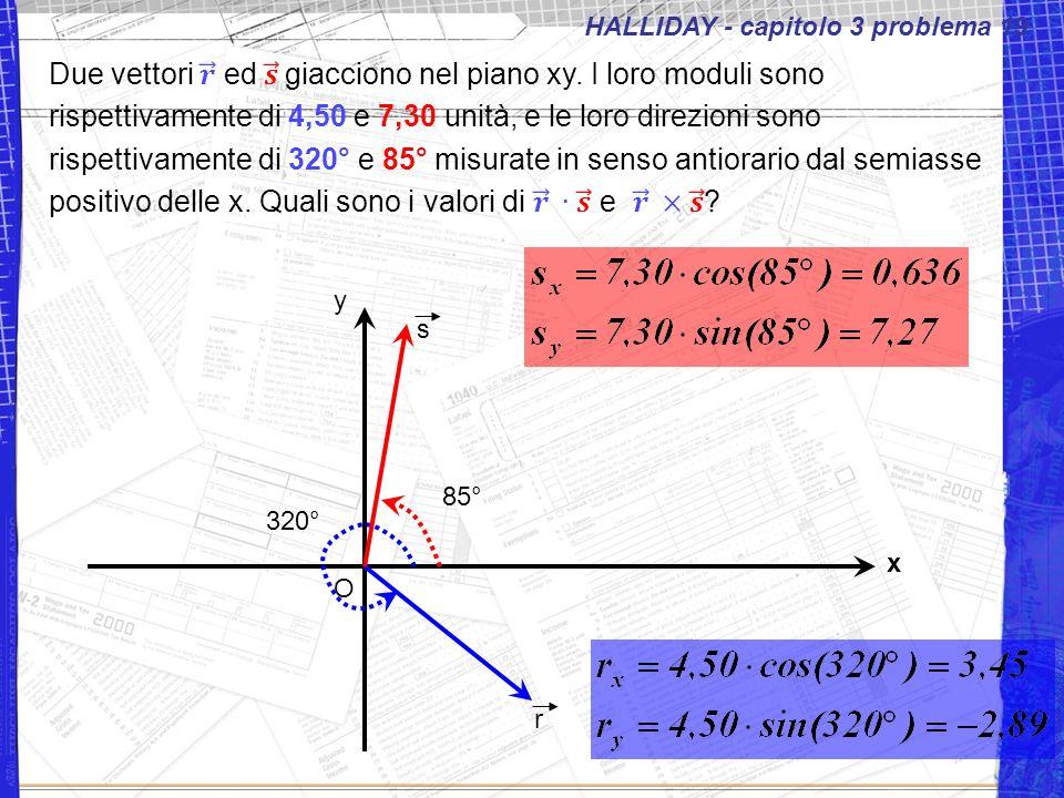 HALLIDAY - capitolo 3 problema 19 x y O r 320° s 85°