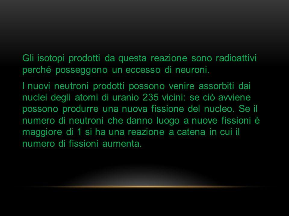 Gli isotopi prodotti da questa reazione sono radioattivi perché posseggono un eccesso di neuroni. I nuovi neutroni prodotti possono venire assorbiti d