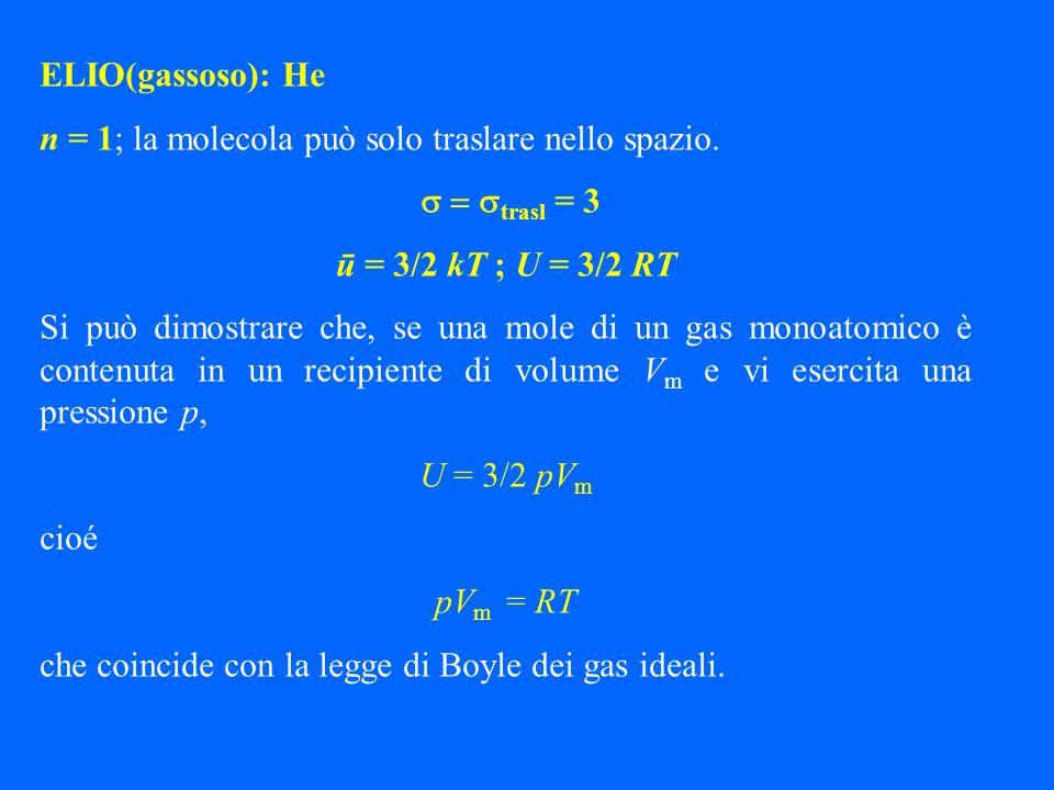 ELIO(gassoso): He n = 1; la molecola può solo traslare nello spazio. trasl = 3 ū = 3/2 kT ; U = 3/2 RT Si può dimostrare che, se una mole di un gas mo