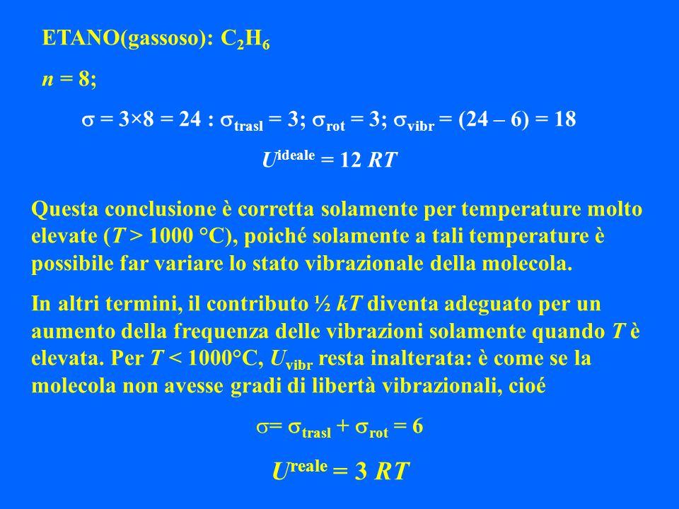 ETANO(gassoso): C 2 H 6 n = 8; = 3×8 = 24 : trasl = 3; rot = 3; vibr = (24 – 6) = 18 U ideale = 12 RT Questa conclusione è corretta solamente per temp