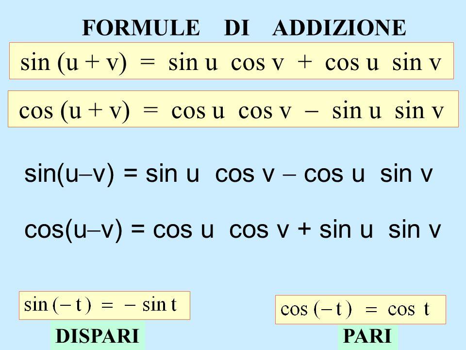 FORMULE DI ADDIZIONE sin (u + v) = sin u cos v + cos u sin v cos (u + v) = cos u cos v sin u sin v sin(u v) = sin u cos v cos u sin v cos(u v) = cos u