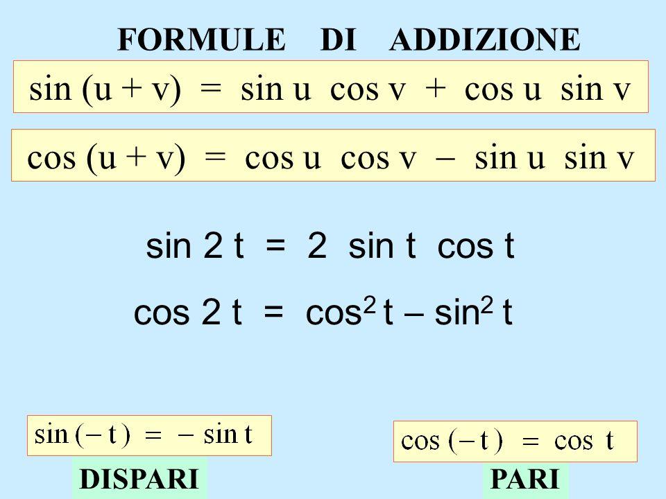 FORMULE DI ADDIZIONE sin (u + v) = sin u cos v + cos u sin v cos (u + v) = cos u cos v sin u sin v sin 2 t = 2 sin t cos t cos 2 t = cos 2 t sin 2 t D