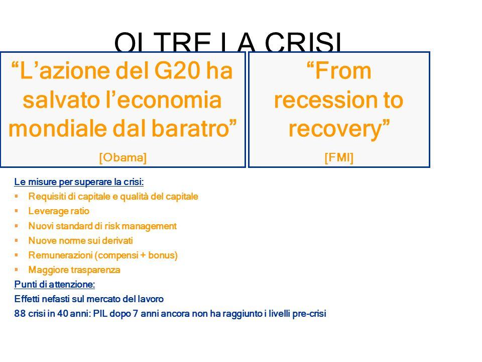 OLTRE LA CRISI From recession to recovery [FMI] Lazione del G20 ha salvato leconomia mondiale dal baratro [Obama] Le misure per superare la crisi: Req