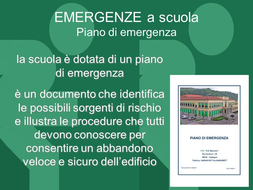 ITI MARZOTTO la scuola è dotata di un piano di emergenza è un documento che identifica le possibili sorgenti di rischio e illustra le procedure che tu