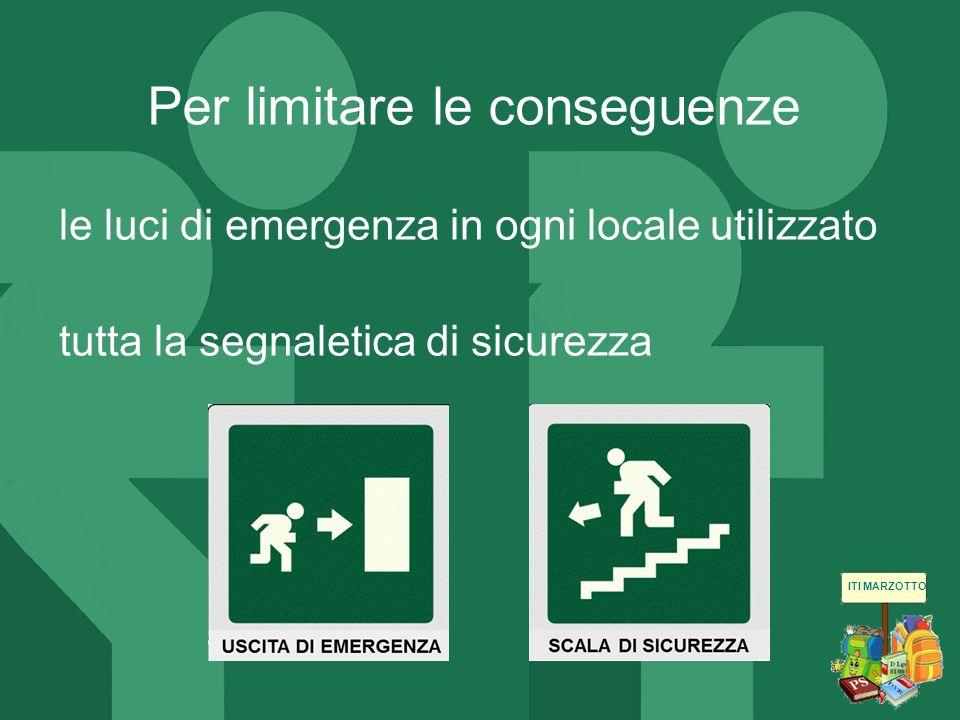 ITI MARZOTTO le luci di emergenza in ogni locale utilizzato tutta la segnaletica di sicurezza Per limitare le conseguenze