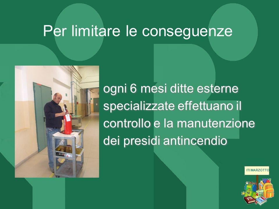 ITI MARZOTTO ogni 6 mesi ditte esterne specializzate effettuano il controllo e la manutenzione dei presidi antincendio Per limitare le conseguenze