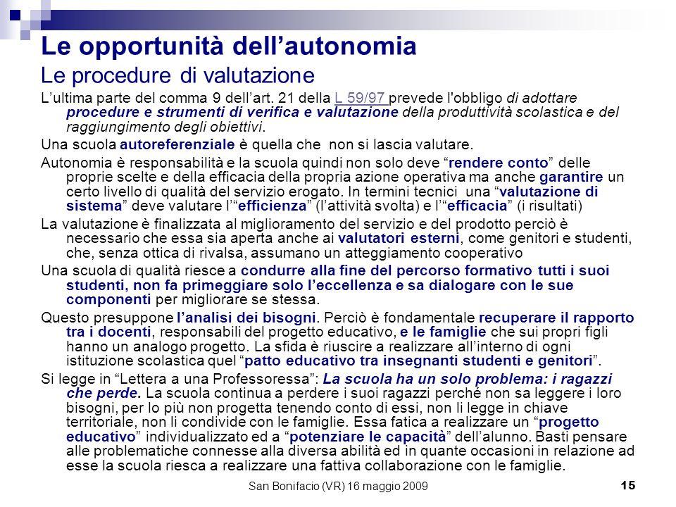 San Bonifacio (VR) 16 maggio 200915 Le opportunità dellautonomia Le procedure di valutazione Lultima parte del comma 9 dellart.