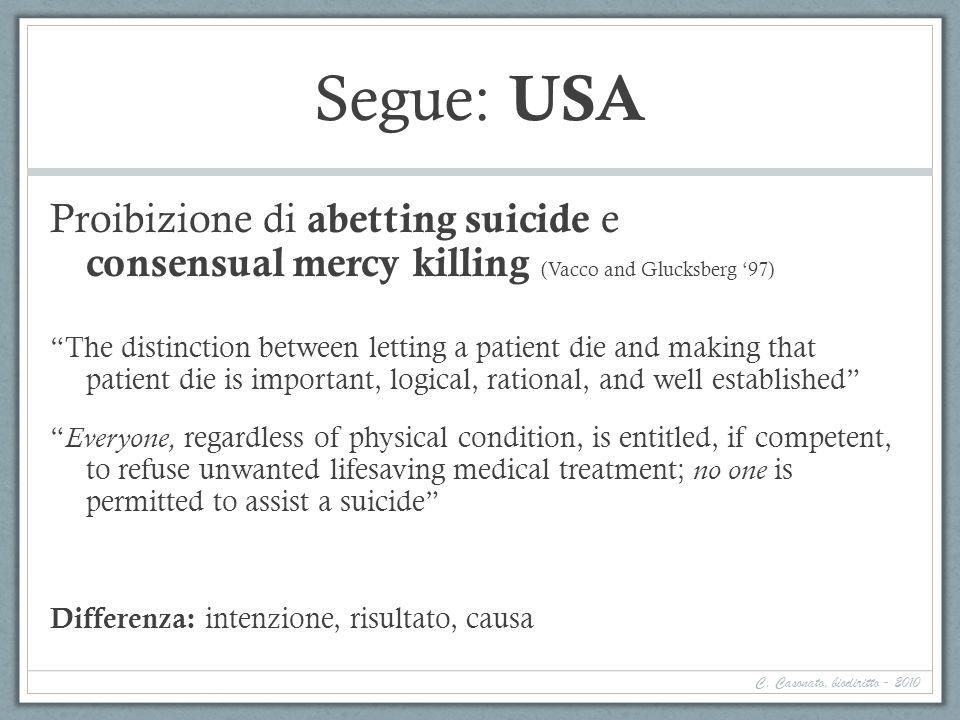 Segue: USA Proibizione di abetting suicide e consensual mercy killing (Vacco and Glucksberg 97) The distinction between letting a patient die and maki