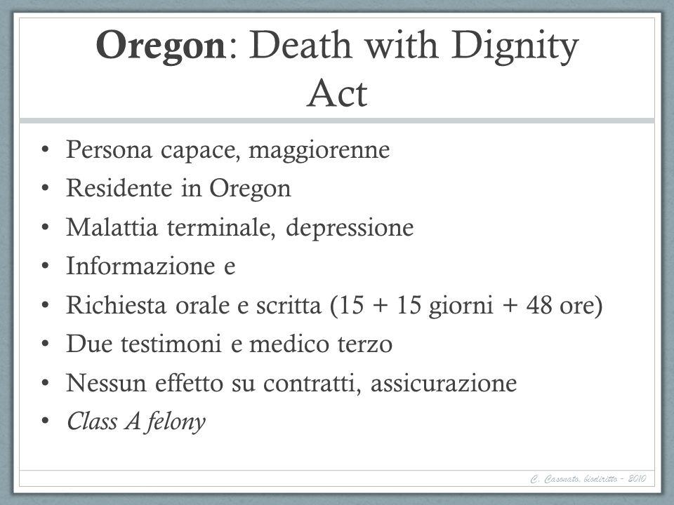 Oregon : Death with Dignity Act Persona capace, maggiorenne Residente in Oregon Malattia terminale, depressione Informazione e Richiesta orale e scrit