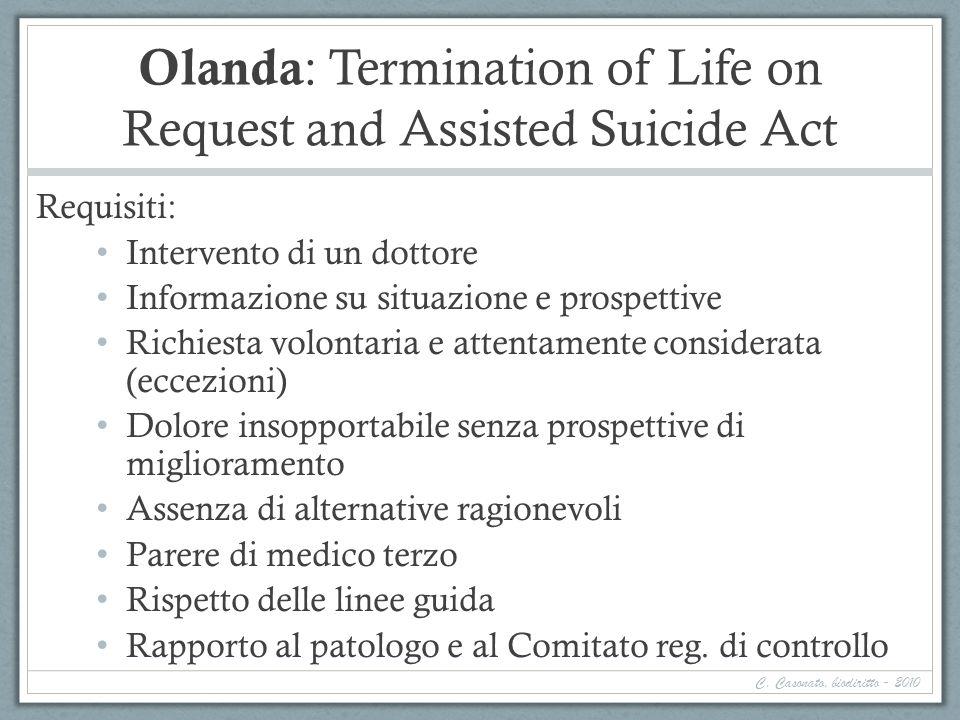Olanda : Termination of Life on Request and Assisted Suicide Act Requisiti: Intervento di un dottore Informazione su situazione e prospettive Richiest