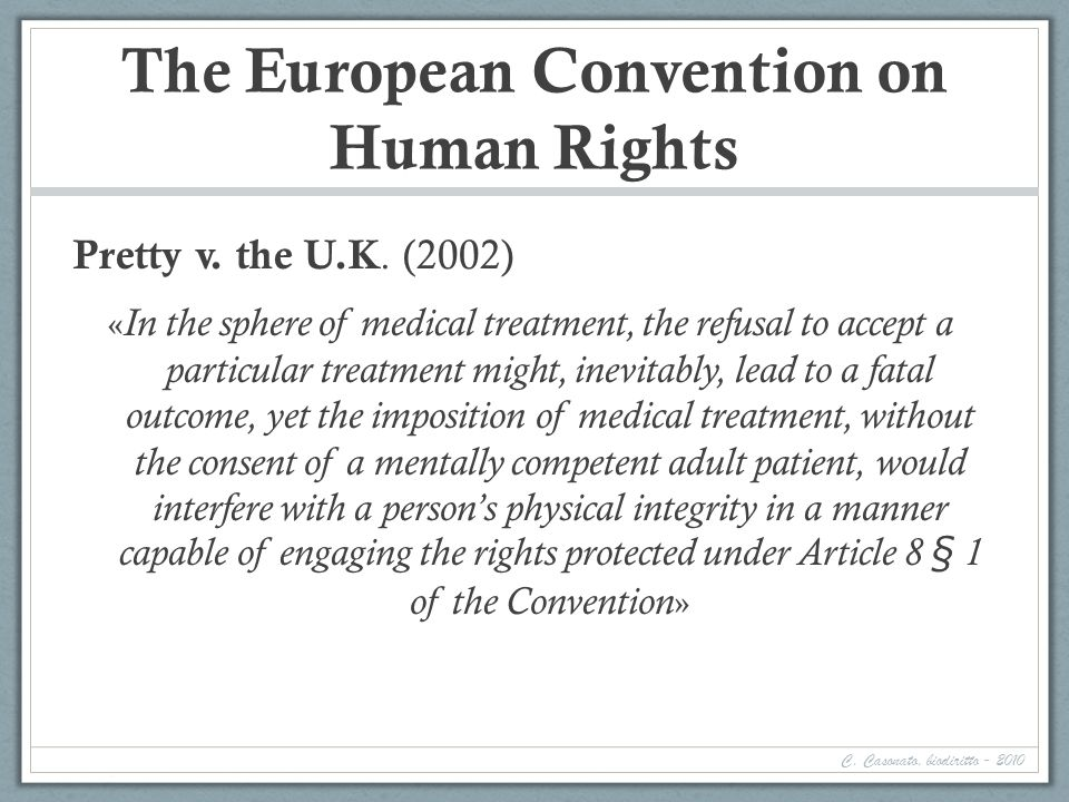 The European Convention on Human Rights Pretty v.the U.K.