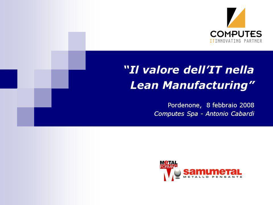 Il valore dellIT nella Lean Manufacturing Pordenone, 8 febbraio 2008 Computes Spa - Antonio Cabardi