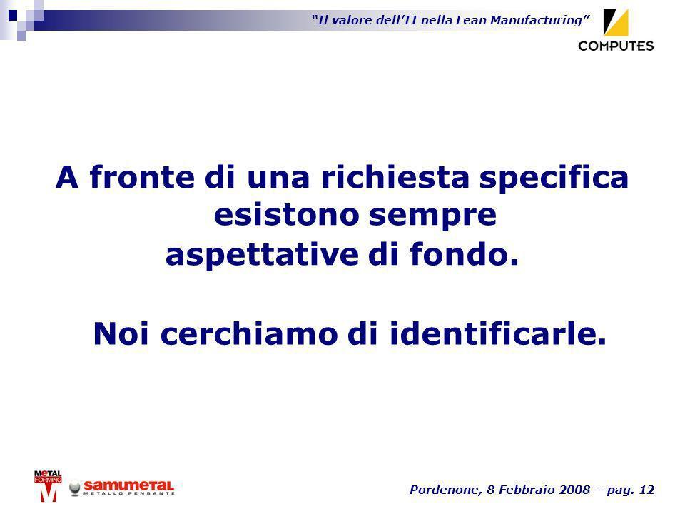 Il valore dellIT nella Lean Manufacturing Pordenone, 8 Febbraio 2008 – pag. 12 A fronte di una richiesta specifica esistono sempre aspettative di fond