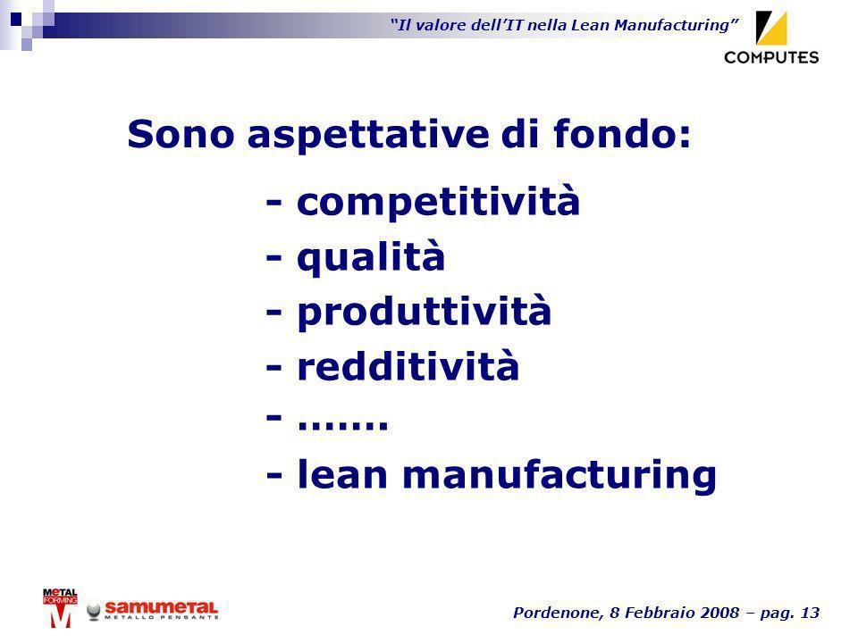 Il valore dellIT nella Lean Manufacturing Pordenone, 8 Febbraio 2008 – pag. 13 Sono aspettative di fondo: - lean manufacturing - competitività - quali