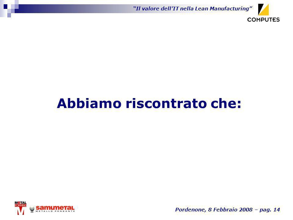 Il valore dellIT nella Lean Manufacturing Pordenone, 8 Febbraio 2008 – pag. 14 Abbiamo riscontrato che: