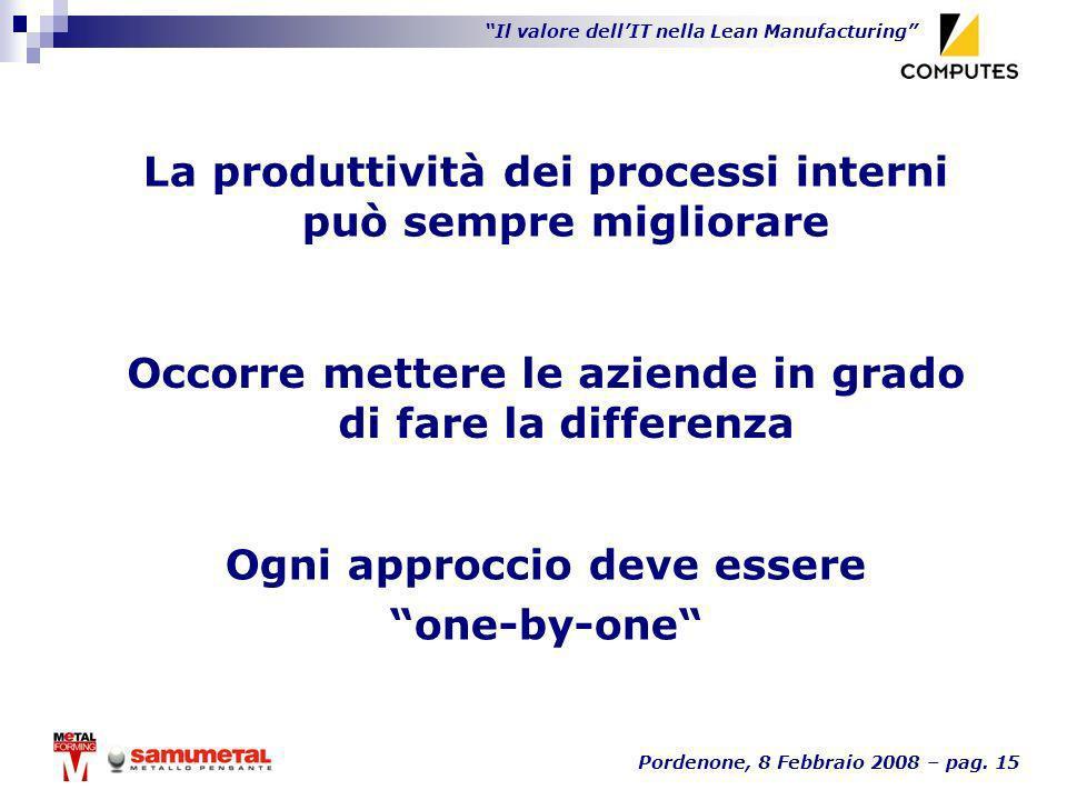 Il valore dellIT nella Lean Manufacturing Pordenone, 8 Febbraio 2008 – pag. 15 La produttività dei processi interni può sempre migliorare Occorre mett