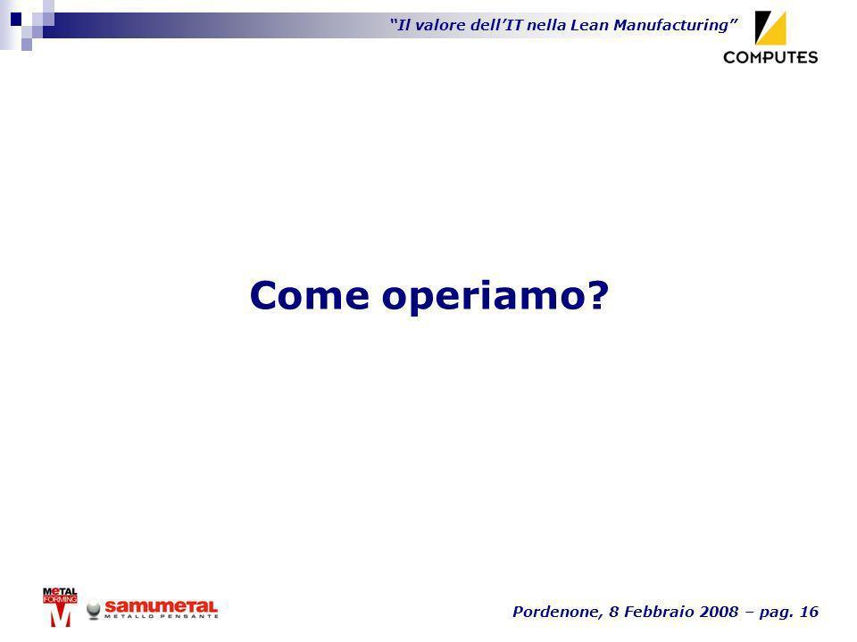 Il valore dellIT nella Lean Manufacturing Pordenone, 8 Febbraio 2008 – pag. 16 Come operiamo?