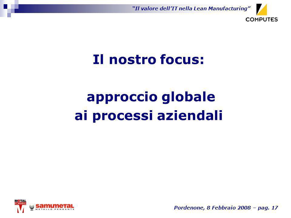Il valore dellIT nella Lean Manufacturing Pordenone, 8 Febbraio 2008 – pag. 17 Il nostro focus: approccio globale ai processi aziendali
