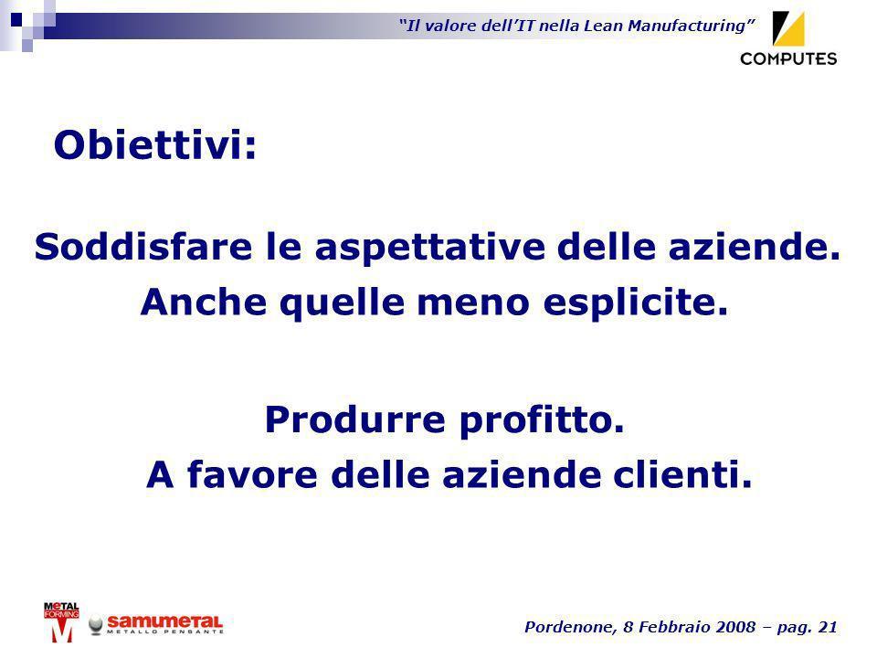 Il valore dellIT nella Lean Manufacturing Pordenone, 8 Febbraio 2008 – pag. 21 Obiettivi: Produrre profitto. Soddisfare le aspettative delle aziende.