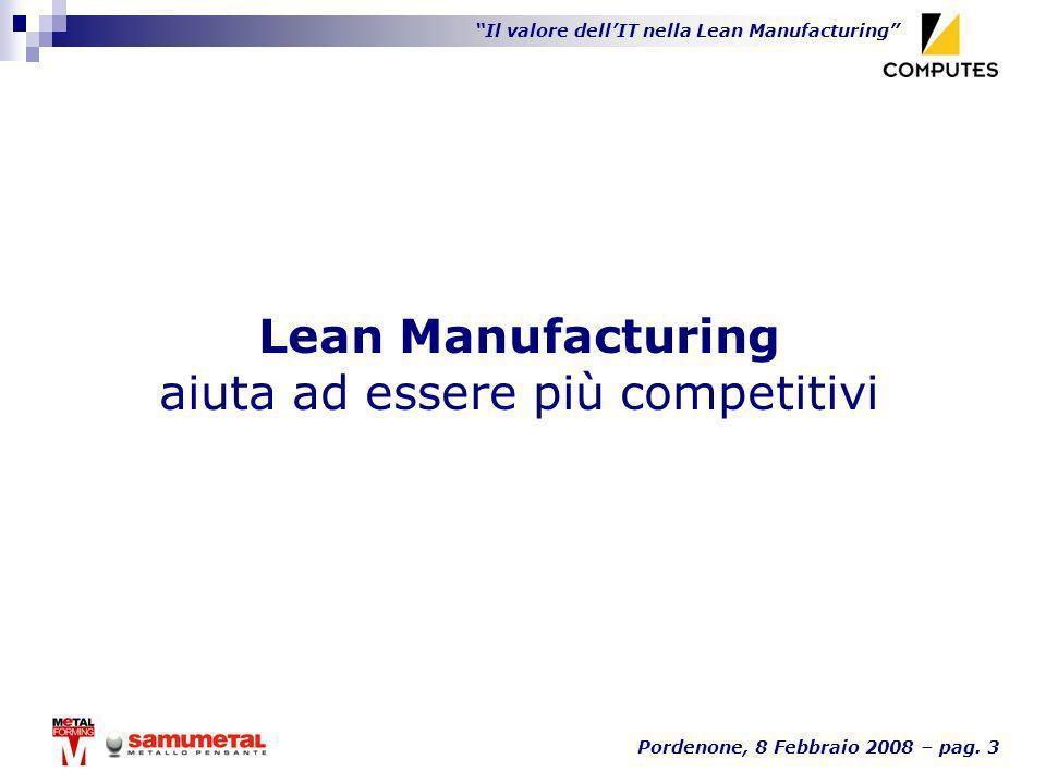 Il valore dellIT nella Lean Manufacturing Pordenone, 8 Febbraio 2008 – pag. 3 Lean Manufacturing aiuta ad essere più competitivi
