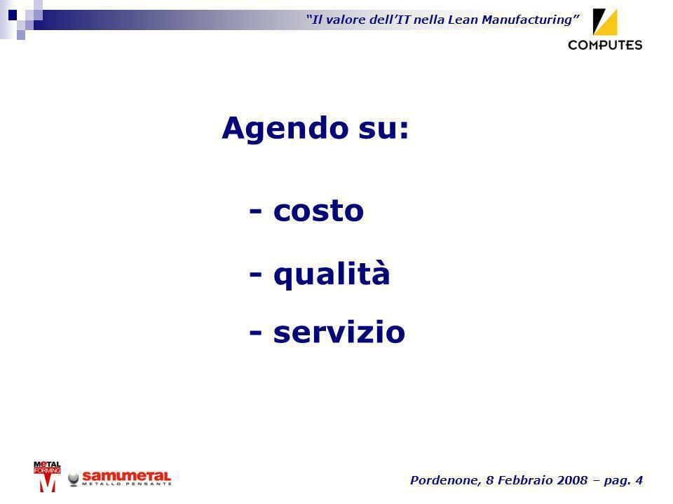 Il valore dellIT nella Lean Manufacturing Pordenone, 8 Febbraio 2008 – pag. 4 - costo - qualità Agendo su: - servizio