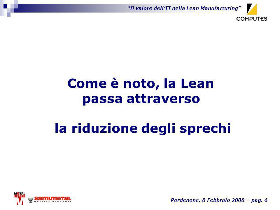 Il valore dellIT nella Lean Manufacturing Pordenone, 8 Febbraio 2008 – pag. 6 Come è noto, la Lean passa attraverso la riduzione degli sprechi