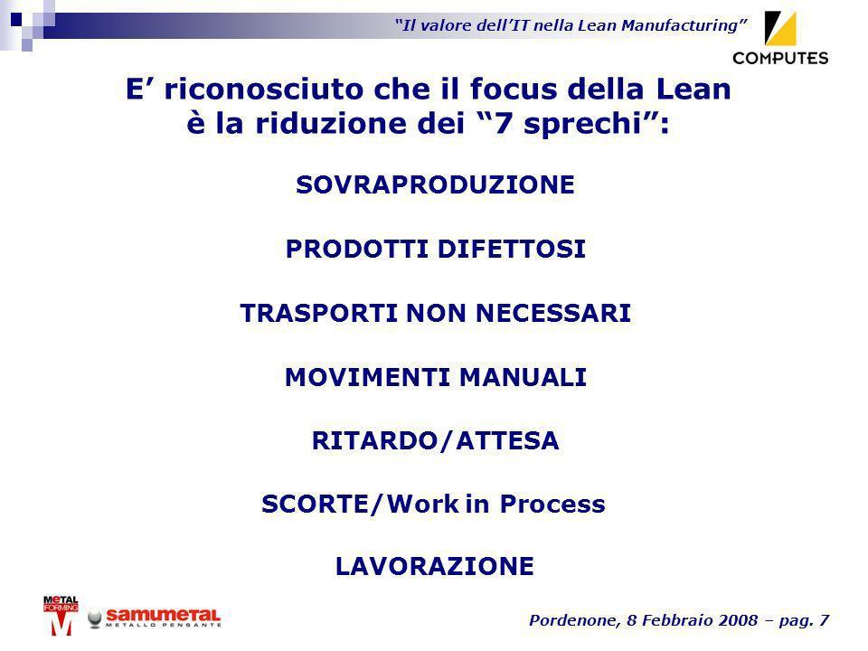 Il valore dellIT nella Lean Manufacturing Pordenone, 8 Febbraio 2008 – pag. 7 E riconosciuto che il focus della Lean è la riduzione dei 7 sprechi: LAV