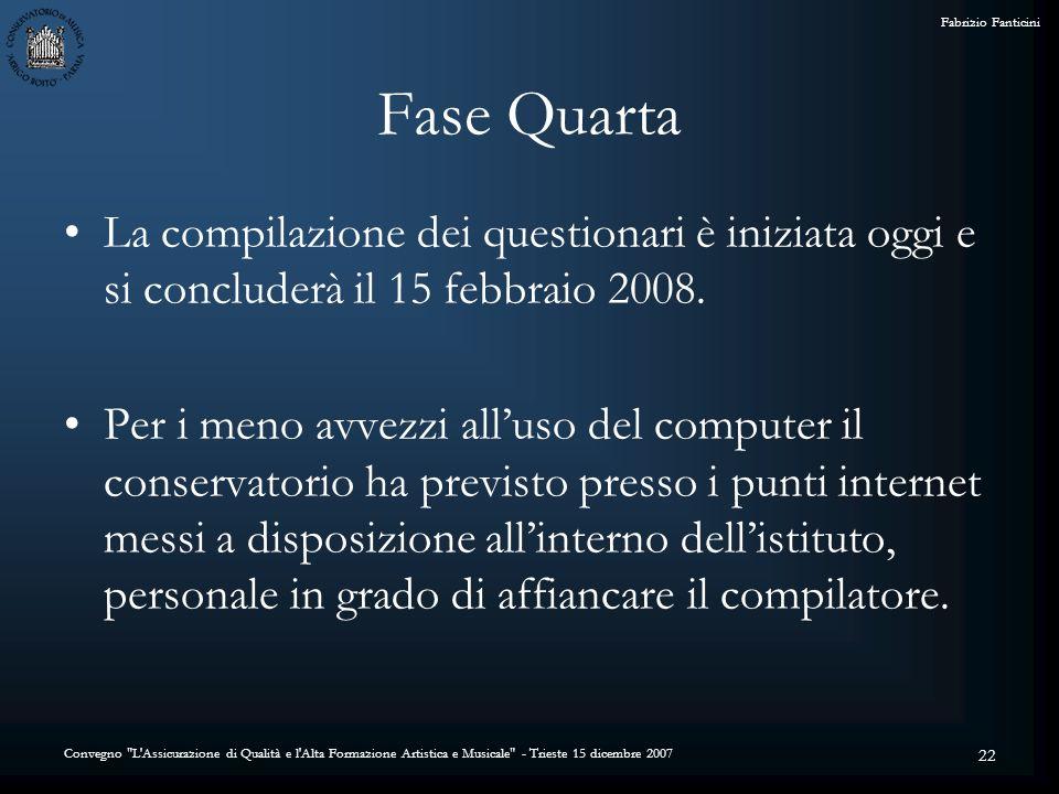 Convegno L Assicurazione di Qualità e l Alta Formazione Artistica e Musicale - Trieste 15 dicembre 2007 Fabrizio Fanticini 22 Fase Quarta La compilazione dei questionari è iniziata oggi e si concluderà il 15 febbraio 2008.