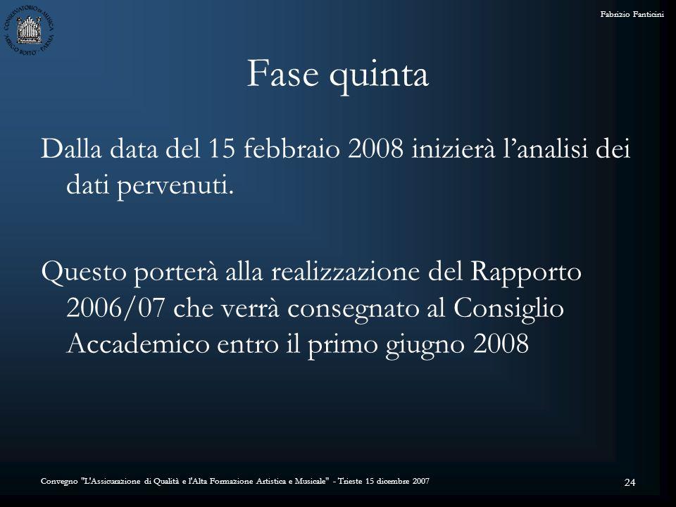 Convegno L Assicurazione di Qualità e l Alta Formazione Artistica e Musicale - Trieste 15 dicembre 2007 Fabrizio Fanticini 24 Fase quinta Dalla data del 15 febbraio 2008 inizierà lanalisi dei dati pervenuti.