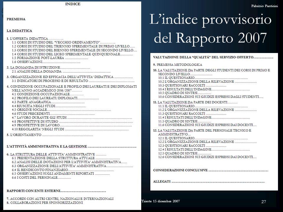 Convegno L Assicurazione di Qualità e l Alta Formazione Artistica e Musicale - Trieste 15 dicembre 2007 Fabrizio Fanticini 27 Lindice provvisorio del Rapporto 2007