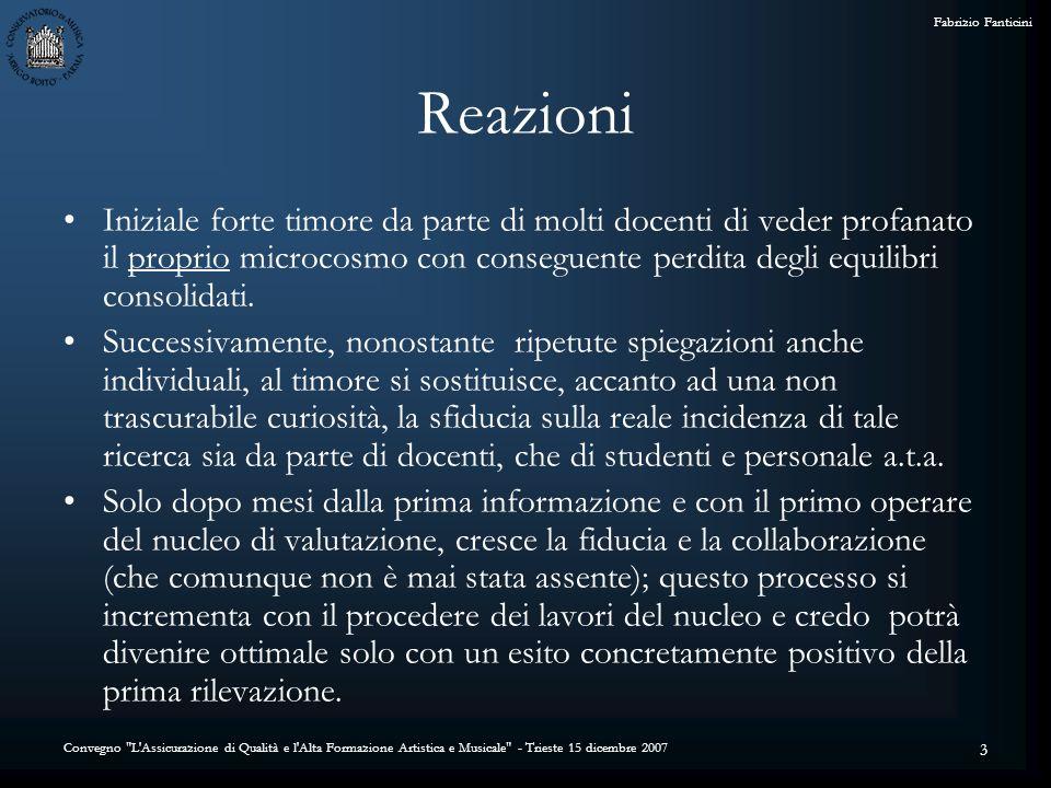 Convegno L Assicurazione di Qualità e l Alta Formazione Artistica e Musicale - Trieste 15 dicembre 2007 Fabrizio Fanticini 14 Soluzione adottata: Si è deciso di limitare lanalisi dei dati al livello di Dipartimento.