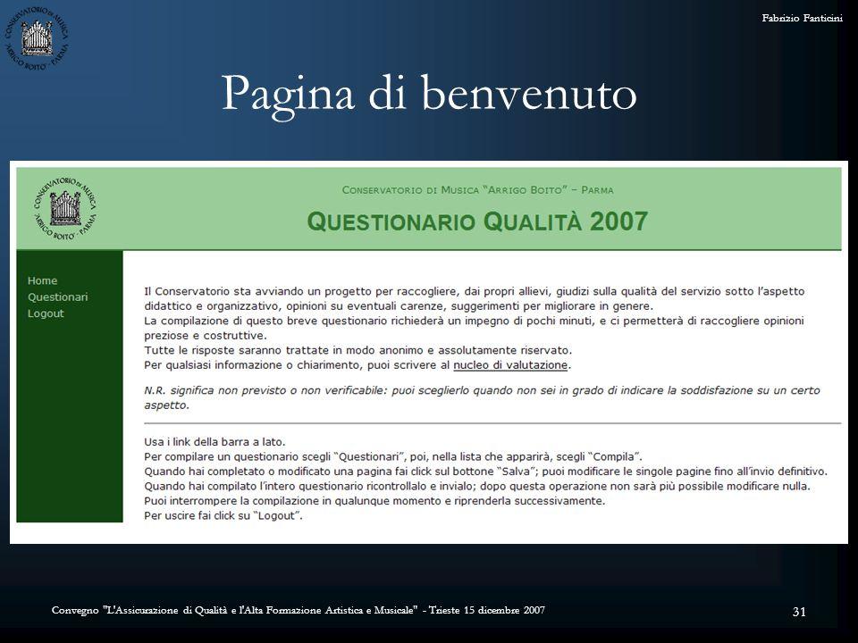Convegno L Assicurazione di Qualità e l Alta Formazione Artistica e Musicale - Trieste 15 dicembre 2007 Fabrizio Fanticini 31 Pagina di benvenuto