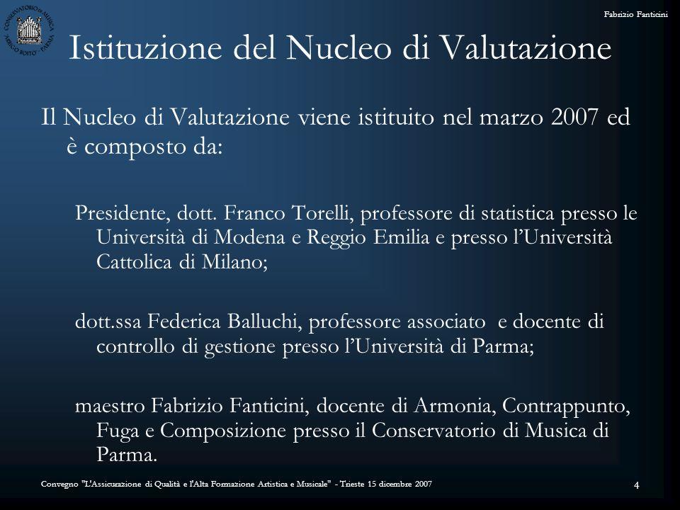 Convegno L Assicurazione di Qualità e l Alta Formazione Artistica e Musicale - Trieste 15 dicembre 2007 Fabrizio Fanticini 4 Istituzione del Nucleo di Valutazione Il Nucleo di Valutazione viene istituito nel marzo 2007 ed è composto da: Presidente, dott.