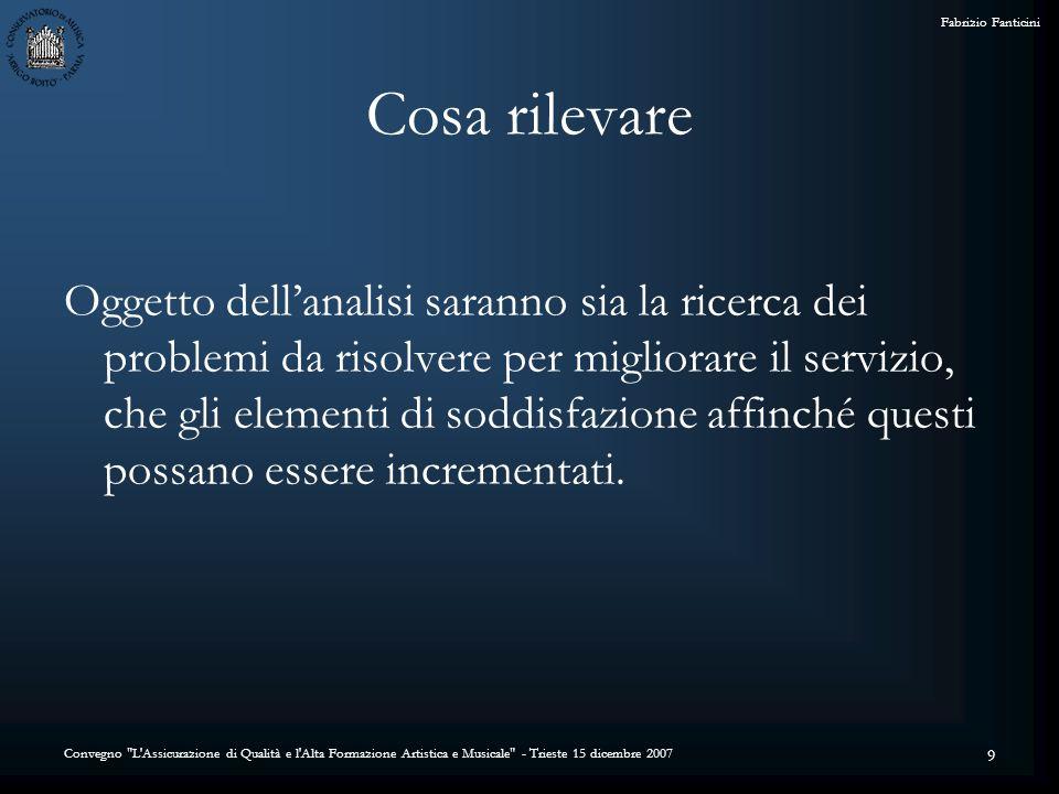 Convegno L Assicurazione di Qualità e l Alta Formazione Artistica e Musicale - Trieste 15 dicembre 2007 Fabrizio Fanticini 30 Il login