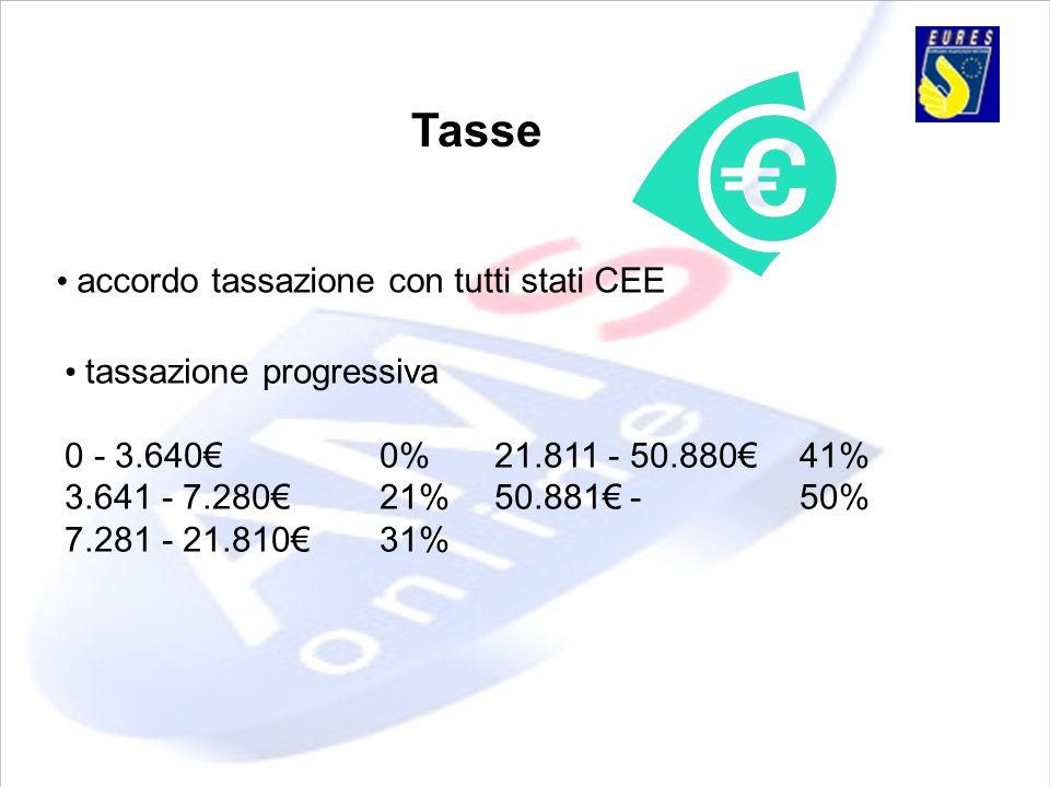 Tasse accordo tassazione con tutti stati CEE tassazione progressiva 0 - 3.6400% 21.811 - 50.88041% 3.641 - 7.28021% 50.881 -50% 7.281 - 21.81031%