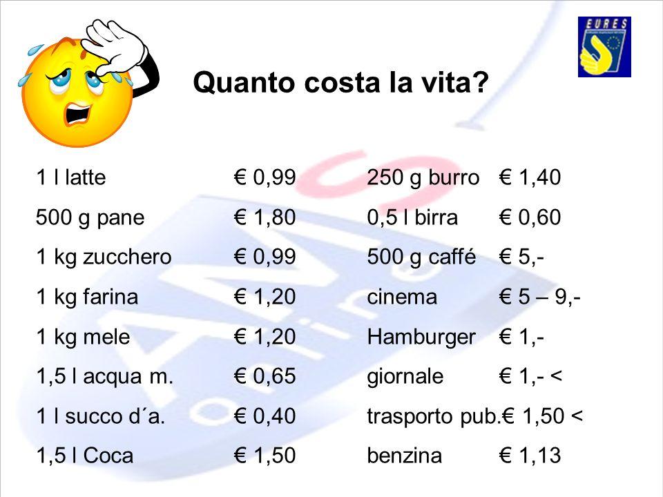 Quanto costa la vita? 1 l latte 0,99250 g burro 1,40 500 g pane 1,800,5 l birra 0,60 1 kg zucchero 0,99500 g caffé 5,- 1 kg farina 1,20cinema 5 – 9,-