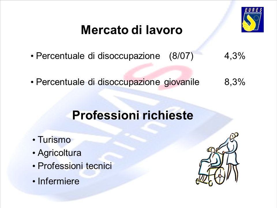 Mercato di lavoro Percentuale di disoccupazione (8/07)4,3% Percentuale di disoccupazione giovanile8,3% Professioni tecnici Agricoltura Professioni ric