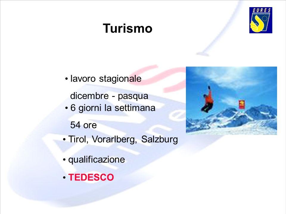 Turismo lavoro stagionale dicembre - pasqua 6 giorni la settimana 54 ore Tirol, Vorarlberg, Salzburg qualificazione TEDESCO