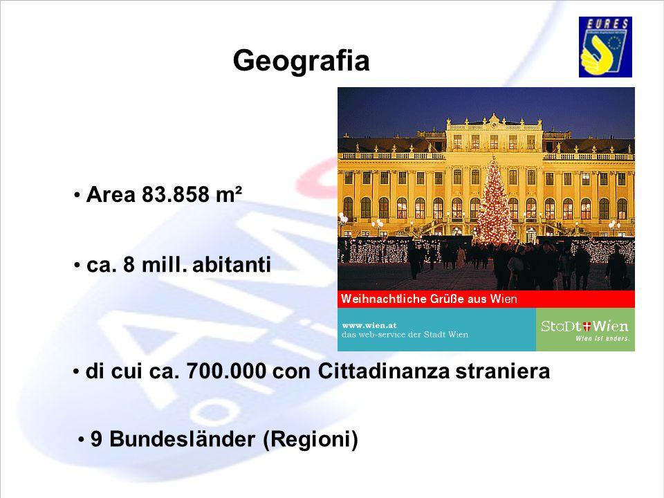 Geografia Area 83.858 m² ca. 8 mill. abitanti di cui ca. 700.000 con Cittadinanza straniera 9 Bundesländer (Regioni)