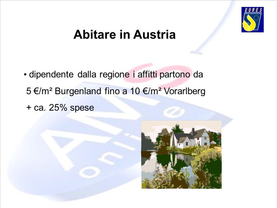 Abitare in Austria dipendente dalla regione i affitti partono da 5 /m² Burgenland fino a 10 /m² Vorarlberg + ca. 25% spese