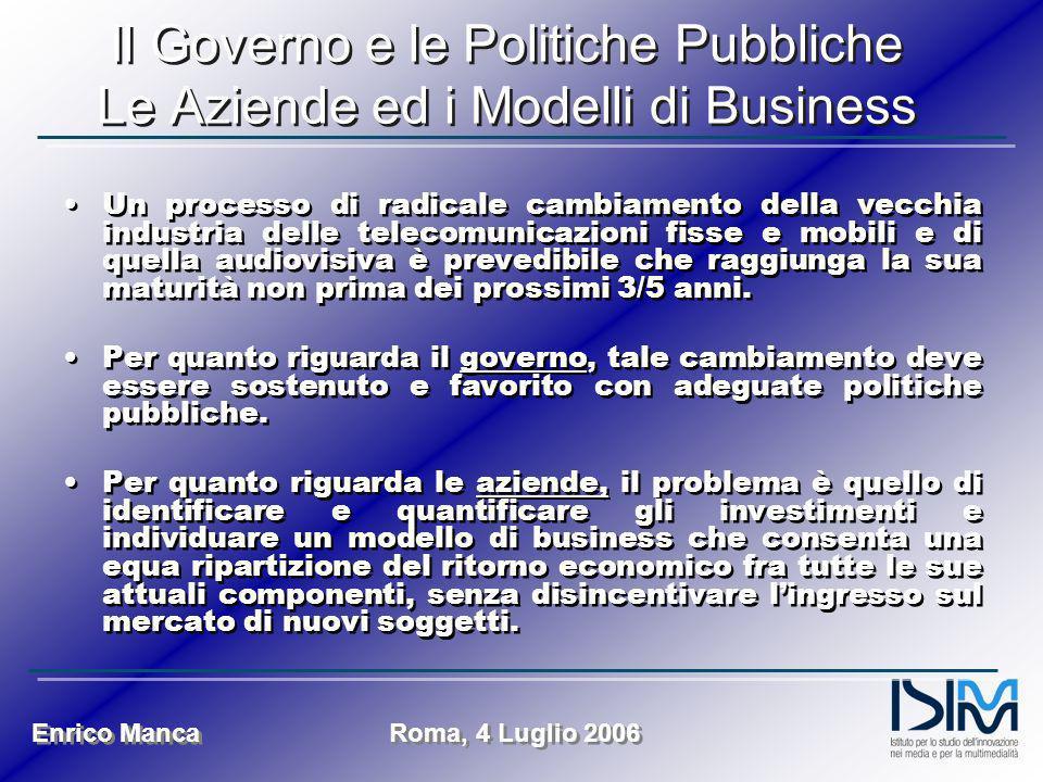 Enrico Manca Roma, 4 Luglio 2006 Il Governo e le Politiche Pubbliche Le Aziende ed i Modelli di Business Un processo di radicale cambiamento della vec