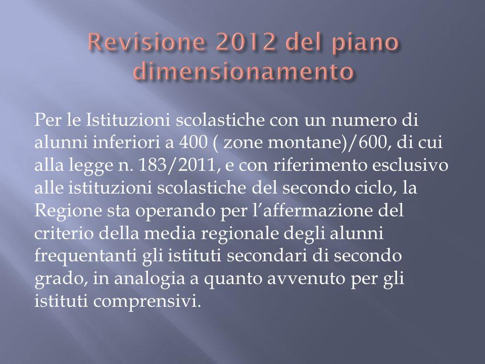 Per le Istituzioni scolastiche con un numero di alunni inferiori a 400 ( zone montane)/600, di cui alla legge n. 183/2011, e con riferimento esclusivo