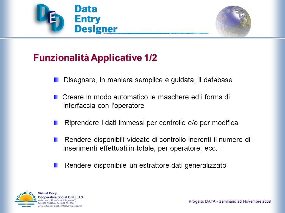 Progetto DATA - Seminario 25 Novembre 2009 Gestire i profili degli utenti (controllo accessi e livelli di autorizzazioni) Personalizzare dinamicamente i layout Automatizzare i controlli di validità dei dati Tracciare il lavoro di ciascun utente Trascrivere file audio Funzionalità Applicative 2/2