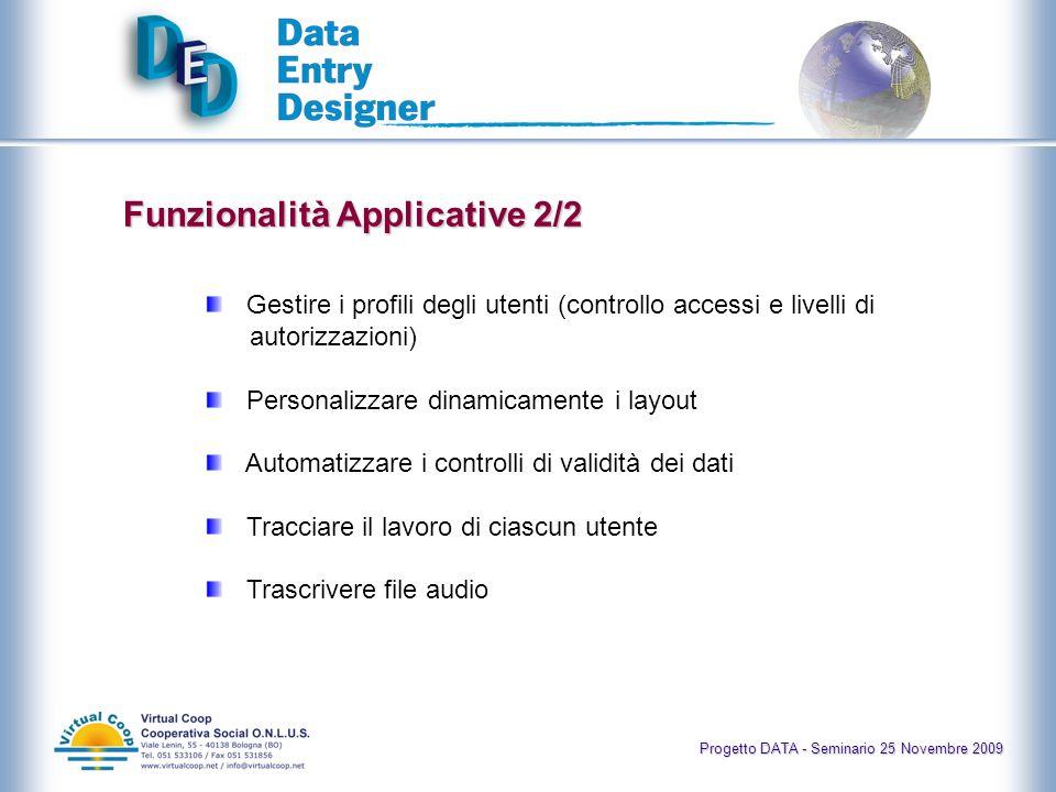 Progetto DATA - Seminario 25 Novembre 2009 Struttura del DED È formato da: 1.Il Disegnatore delle schermate di dataentry e della corrispondente base di dati 2.Le Interfacce di inserimento dati e trascrizione audio 3.Il Sistema di gestione e controllo delle informazioni inserite