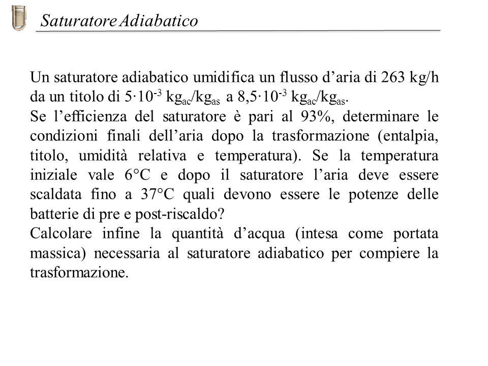 Un saturatore adiabatico umidifica un flusso daria di 263 kg/h da un titolo di 5·10 -3 kg ac /kg as a 8,5·10 -3 kg ac /kg as. Se lefficienza del satur