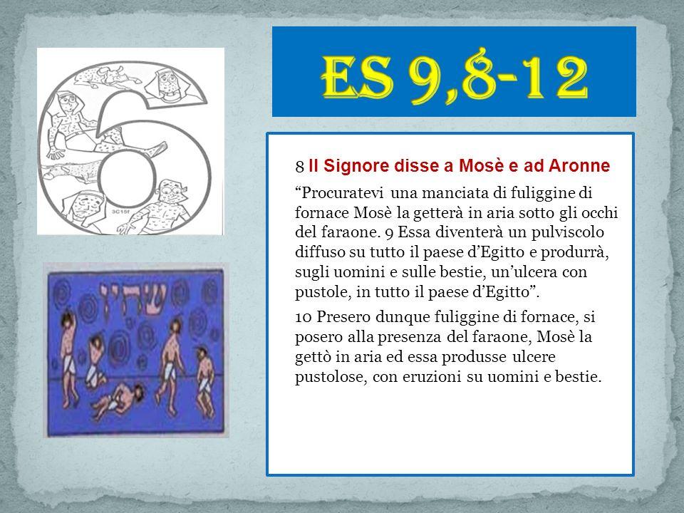 8 Il Signore disse a Mosè e ad Aronne Procuratevi una manciata di fuliggine di fornace Mosè la getterà in aria sotto gli occhi del faraone.